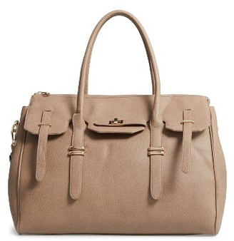 Sole Society Faux Leather Weekend Satchel - Beige $79.95 thestylecure.com