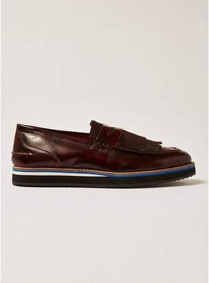Topman Mens Red Burgundy Prism Loafers