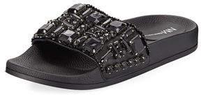 Neiman Marcus Debut Jeweled Flat Pool Sandal