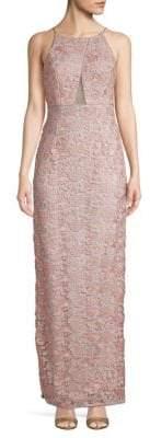 Aidan Mattox Floral Embroidery Long Halter Dress
