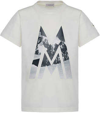 Moncler Short-Sleeve Knit Mountains & Logo Graphic T-Shirt, Size 4-6
