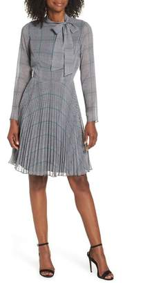 Maggy London Tie Neck Fit & Flare Dress