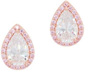 Diamonique Pink Halo Pear Cut Stud Earrings, 14K Rose Plated