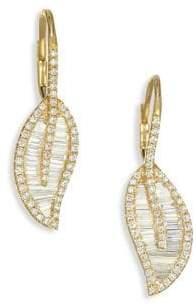 Anita Ko 18K Gold& Diamond Leaf Drop Earrings