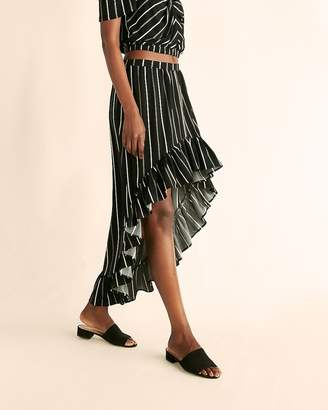 Express Petite Striped Ruffle Maxi Skirt