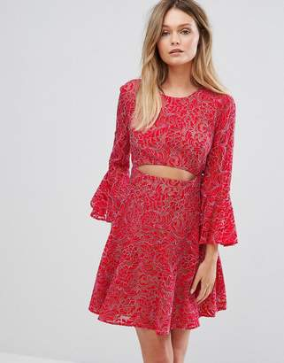 BCBGMAXAZRIA Cut Out Lace Dress