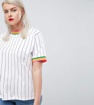 Asos DESIGN Curve t-shirt in vertical stripe with bright stripe tipping