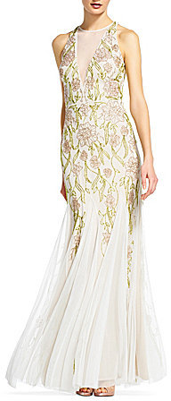 Adrianna PapellAdrianna Papell Beaded Halter Neck Long Gown