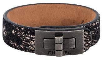 Chanel Turn-Lock Leather Bracelet