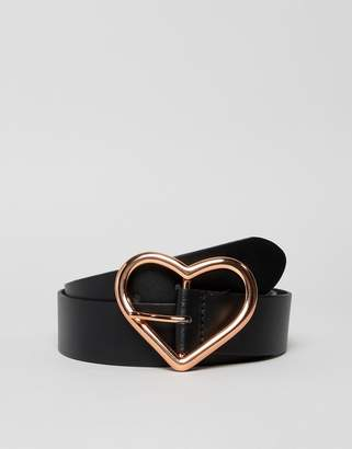 Asos DESIGN leather heart buckle waist and hip jeans belt in rose gold