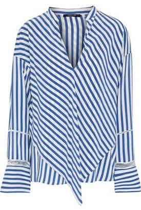 Derek Lam Open Knit-Trimmed Layered Striped Silk-Satin Blouse