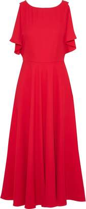 Mikael Aghal Draped Crepe Midi Dress
