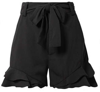 Rebecca Vallance Bellisima Ruffled Crepe Shorts - Black