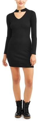 Say What Long Sleeve Mock Neck Dress with Gold Accent Ring