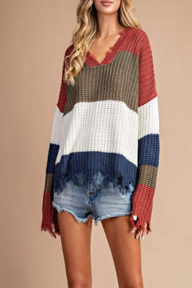 Eesome Distressed Striped Sweater