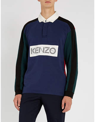 Kenzo Logo-patch cotton-jersey rugby shirt