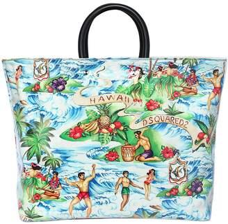 DSQUARED2 Hawaii Printed Canvas & Pvc Tote Bag