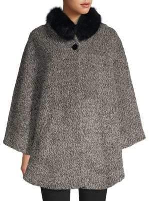 Sofia Cashmere Fox Fur-Trim Alpaca Boucle Hooded Capelet