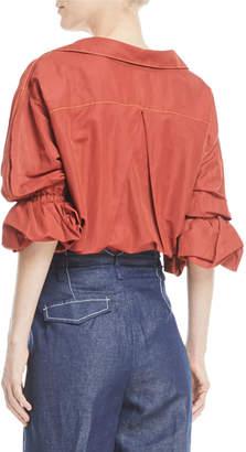 Neiman Marcus Rejina Pyo Amber V-Neck Button-Front Linen Shirt
