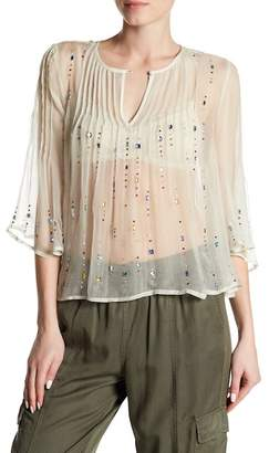 Free People Jewel Box Pintuck Pleat Embellished Sheer Blouse