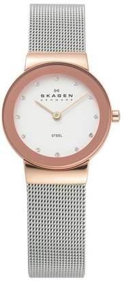 Skagen Ladies' 358SRSC Freja Rose Gold Coloured Strap Watch
