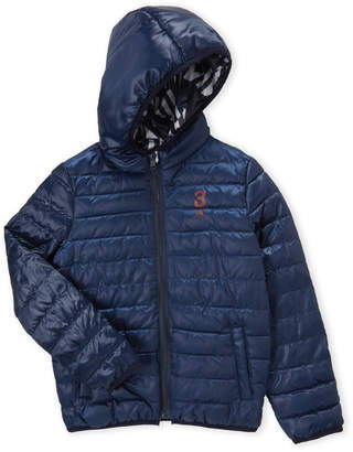 3 Pommes Boys 8-20) Hooded Reversible Coat