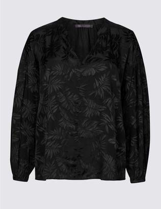 Marks and Spencer PETITE Palm Print Long Sleeve Blouse
