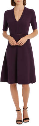 V Neck Short Sleeve Pointelle Knit Dress