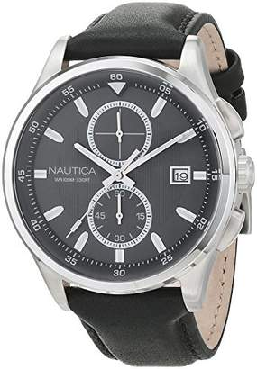 Nautica Men's 'NCT 19' Quartz Stainless Steel and Leather Casual Watch