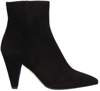 The Seller Pointed Toe Black Suede Leather Ankle Boots