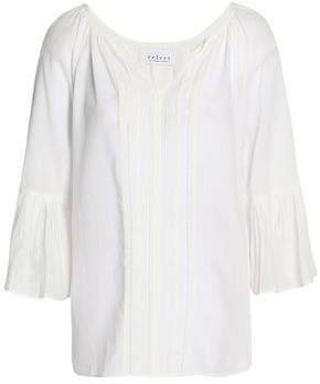 Velvet by Graham & Spencer Celina Open Knit-Trimmed Cotton-Voile Blouse