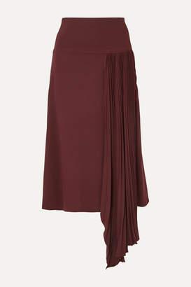 Joseph Selma Asymmetric Pleated Silk-crepe Midi Skirt - Burgundy