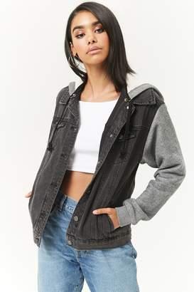 Forever 21 Hooded Combo Denim Jacket
