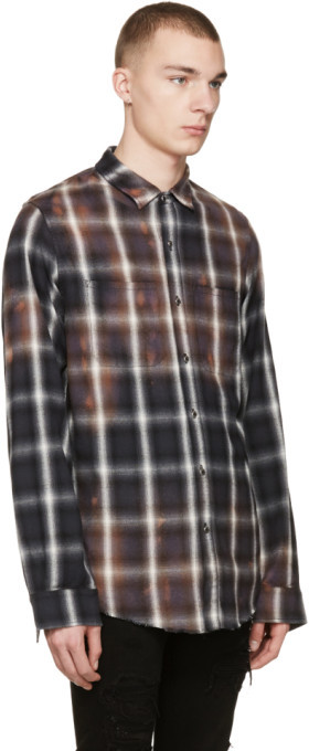 Amiri Black Spray Plaid Shirt 3
