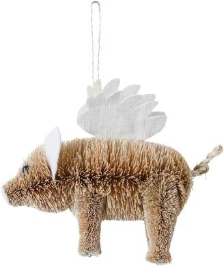 CREATIVE CO-OP Bottle Brush Flying Pig Ornament