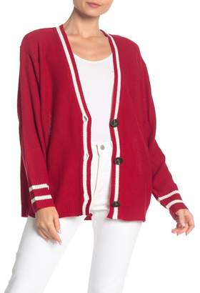 Double Zero Front Striped V-Neck Cardigan