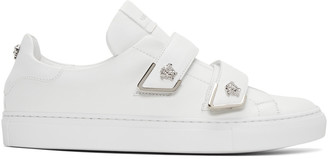 Versace White Double Strap Medusa Sneakers $675 thestylecure.com