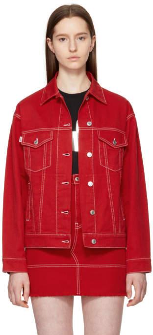 Red Oversized Embroidered Denim Jacket