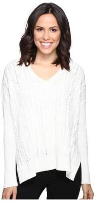 Michael Stars Alpine Knit V-Neck Cable Knit Sweater Women's Sweater