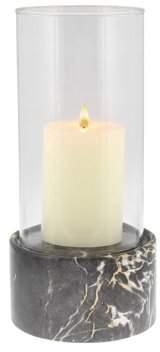 DecMode Decmode Contemporary 11 Inch Round Ceramic And Glass Hurricane Candle Holder, Dark Gray