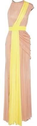 Cushnie et Ochs Madalena One-Shoulder Draped Two-Tone Silk-Mesh Gown