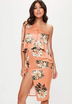 Missguided Orange Floral Print One Shoulder Bow Midi Dress