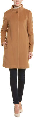 Cinzia Rocca Classic Long Sleeve Wool & Cashmere-Blend Coat