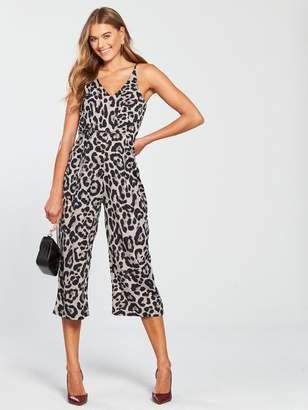 AX Paris V Front Culotte Jumpsuit - Leopard Print
