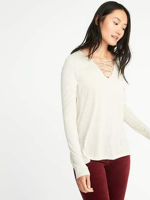 Old Navy Relaxed Lace-Up-Yoke Sparkle-Knit Top for Women