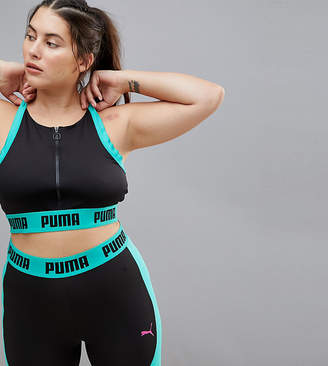 Puma Plus Exclusive To Asos Zip Up Bra Top In Black And Green