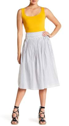 Vince Pleated Stripe Wrap Midi Skirt
