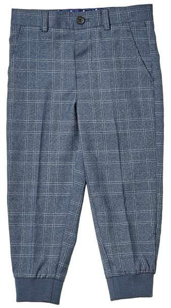 **Boys Blue Checked Smart Trousers (18 months - 6 years)