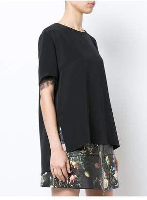 ADAM by Adam Lippes Silk Crepe T-Shirt With Lace Trim