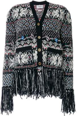 Thom Browne Boxy V-neck Cardigan With Anchor Fair Isle Jacquard In Wool And Poly Knit